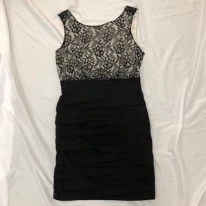 Express black and cream cocktail dress